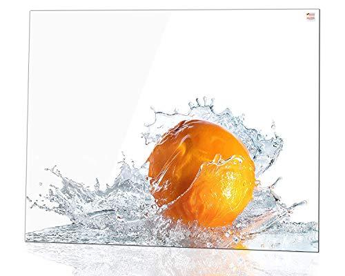 Glas Expert Küchenrückwand | 75 x 60 cm | Orange Motiv + Weiß - Pure White | Ultra Clear Glass ® - EVOPRINT Glass ® | Deko Spritzschutz Rückwand für Küche, Herd, Fliesen, inkl. Befestigungsmaterial