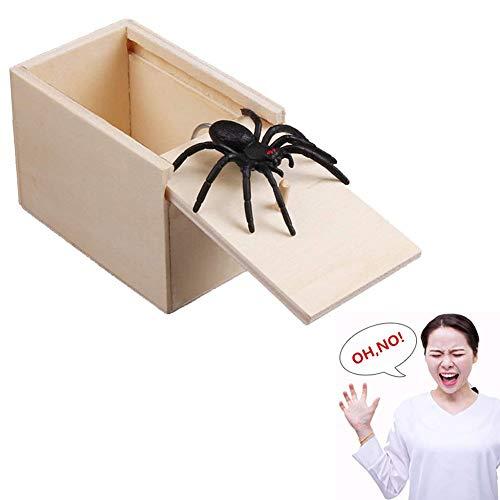 2 Stücke Holz Streich Spinne Scare Box Überraschung Box lustige Scare kleine Holzkiste Spinne beängstigend Mädchen für Kinder Erwachsene Partei begünstigt Geschenke