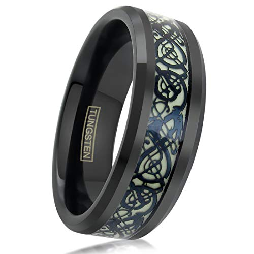 King's Cross Personalized Engraved Luminous Glow in The Dark 8mm Black Tungsten Wedding Band w/Matching Celtic Dragon Inlay. (9)
