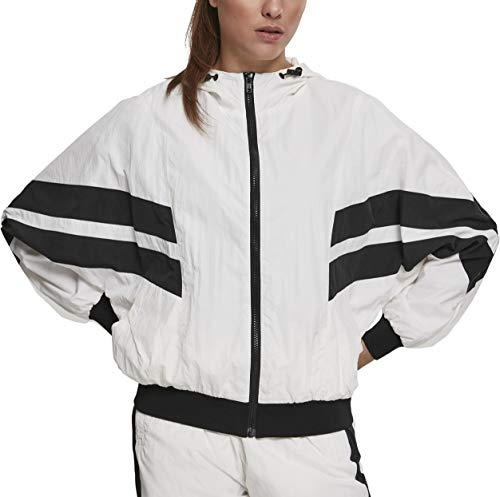 Urban Classics Damen Ladies Crinkle Batwing Jacket Jacke, Weiß (Wht/Blk 00224), X-Large (Herstellergröße: XL)