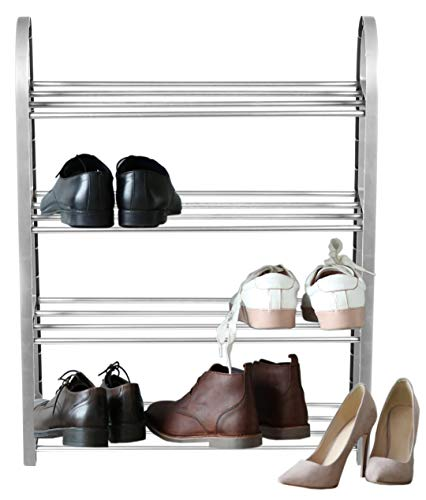 Schuhregal bis 8 Paar Schuhe Schuhablage 4 Ebenen Schuhschrank Campingschrank Ständer Metall (Grau)