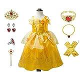 Elmia エルミア ハロウィン 仮装 子供 ドレス ベル 風 ドレス キッズコスチュームドレス プリンセス コスチューム 衣装 なりきり 付属品7セット(ティアラ スティック ネックレス ピアス ブレスレット リング 手袋)付 (120)