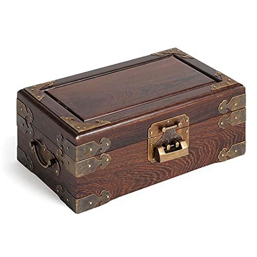 WPJ Caja de joyería Antigua Oriental Joyería de Madera Caja de Almacenamiento con Espejo y Bloqueo para Collar de joyería Pendientes de Almacenamiento (Color : B)