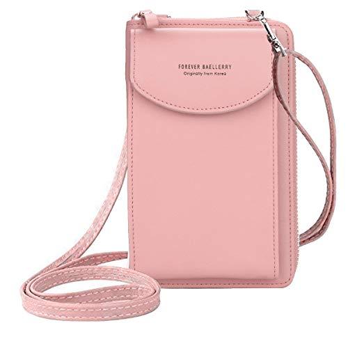 ZhengYue kleine Crossbody Tasche Handy - Tasche Brieftasche mit Credit Card Slots für Frauen (A-Dark Pink)