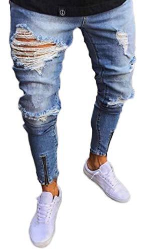 Pizoff Herren Superenge Skinny-Jeans mit Rissen an den Knien, Am017, M