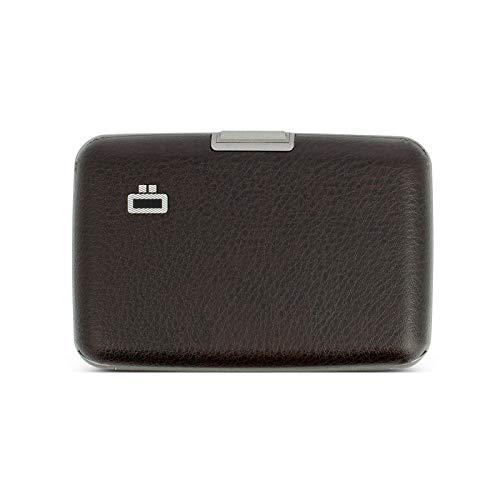 Ögon Smart Wallets - Aluminium Geldbörse Stockholm - RFID Blockierung Kartenetui - Bis zu 10 Karten und Banknoten - Leder Vegan Braun/Grau Interieur