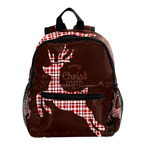 Mochila para niños con mochila para niños y niñas de guardería y escuela primaria, azul y blanco Alce Marrón Navidad 25.4x10x30 CM/10x4x12 in