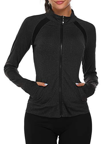 ONGASOFT Women Slim Fit Yoga Workout Running Track Jacket Lightweight Full Zip Thumb Holes with Two Side Pockets