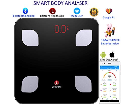 Lifetrons Smart Body Composition Digital Weighing Scale and Fat Analyzer to Monitor Weight Loss, BMI, Muscle Mass, Protein (Black)