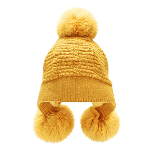 ZZBO Mütze Beanie Strickmütze Damen Plush Hut Wintermütze Baggy Halten Cap Sleeve Streetwear Mütze Warm Mütze mit Ohrenklappen Bommeln Mode Headgear