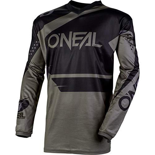 O'NEAL   Motocross-Jersey Langarm   MX Enduro   Gepolsterter Ellbogenschutz, V-Ausschnitt, atmungsaktiv   Element Jersey Racewear   Erwachsene   Schwarz Grau   Größe XXXL