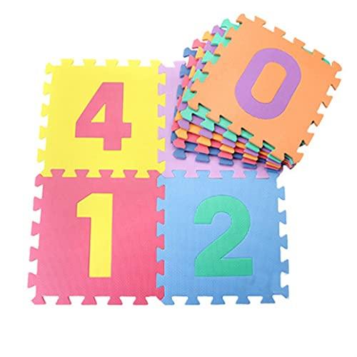 Shop-PEJ Suave 10 unids Soft Foam Puzzle Play Mat/Kids Alfombras Alfombras Alfombras para Niños Interraplachos De Ejercicio Azulejos Números Mats Decoración Hogar (Color : Digital)