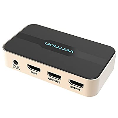 VENTION 1×2 HDMI Splitter 4Kx2K 3D Splitter HDMI Switch Adapter 1 in 2 Out Amplifier Adapter with Remote Box Video Audio Distributor 1080P for HDTV PC Projector PS3 PS4 Xbox DVD etc