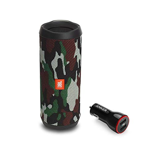 JBL Flip 4 Portable Bluetooth Wireless Speaker Bundle with Anker PowerDrive 2 2-Port USB Car Charger - Camouflage