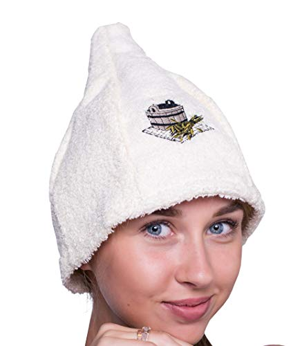 Ger3as 6 Farben Saunahut Damen und Herren 100% Baumwolle mit Stickerei, Wellness Mütze Premium Qualität (Weiß)