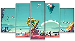 CYZSH Modern Canvas Poster Hd Printed Room Wall Art 5 Piece No Man's Sky Painting Home Decor Abstract Comic Game Pictures