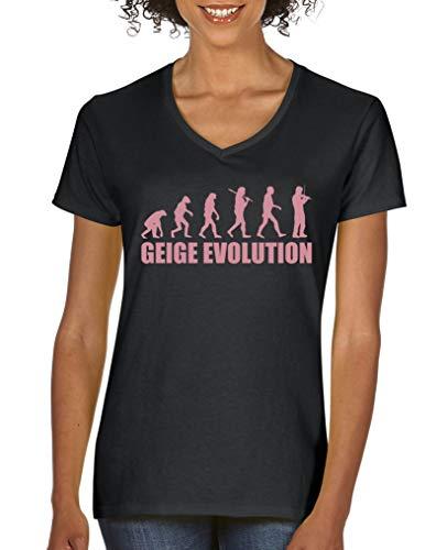 Comedy Shirts - Geige Evolution - Damen V-Neck T-Shirt - Schwarz/Rosa Gr. L