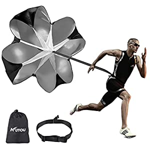 KUYOU Running Speed Training 56 inch Speed Training Resistance Parachute Umbrella Running Chute & Fitness Explosive Power Training (Black)