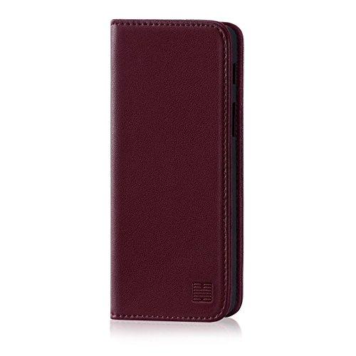 32nd Serie Classica - Custodia a Portafoglio in Pelle Vera per Samsung Galaxy A6 (2018), Case Realizzato in Pelle Premium con Diversi Comparti, Chiusura Magnetica e Supporto Integrato - Borgogna