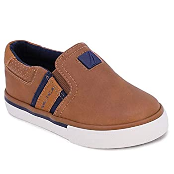 Nautica Toddler Canvas Sneaker Slip-On Casual Shoes-Oti-T-Tan Ivory-9