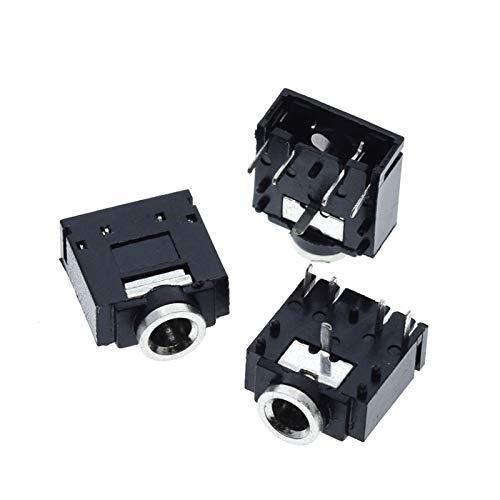XIAOZSM Resistor 10 unids PJ-307 PJ307 3.5mm STETEO Jack Sock Audio Conector PCB 3F07 (Color : Black Metal Head)
