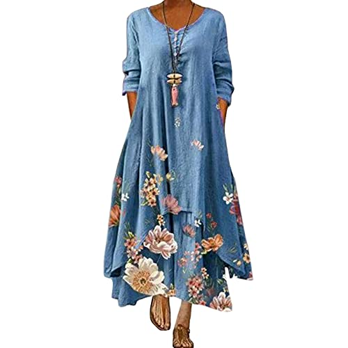 Xiakolaka Women Plus Size Boho Dress Casual Irregular Maxi Dresses Loose Long Sleeve Linen Dress with Pockets Blue