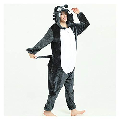 MA Pijama Animal Adulto 3D Lobo Gris Grande Kigurumi Pijamas Franela Fiesta Familiar Onesies Cosplay Disfraces Ropa de Dormir Mejor Regalo-Lobo_SG