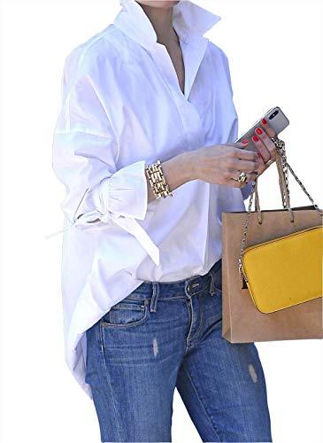 VERA Damen Freizeit Elegant Business Langarm weiße Hemd (Weiß, XXL)