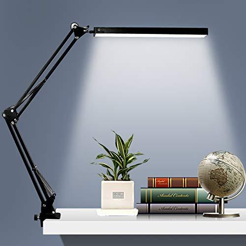 Umisu - Lámpara de escritorio LED con pinza ajustable, plegable, 3 modos de color, lámpara de mesa de Architecta, con brazo giratorio de metal para trabajo o oficina