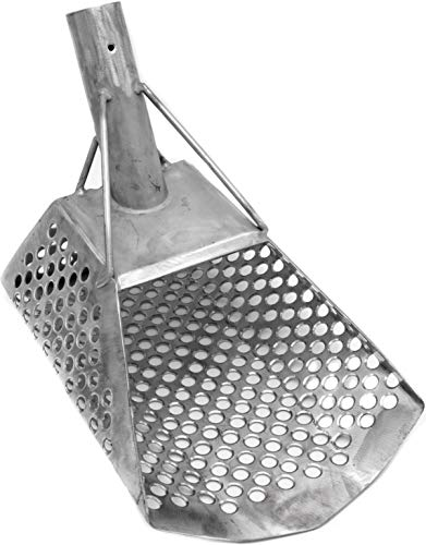 CKG Sand Scoop for Metal Detecting Stainless Steel Shovel for Beach Underwater Treasure Hunting (Large 10 mm Scoop)