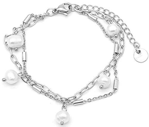 Dielay Pulsera doble para mujer, perlas de acero inoxidable, longitud ajustable, 16-19 cm, color plateado