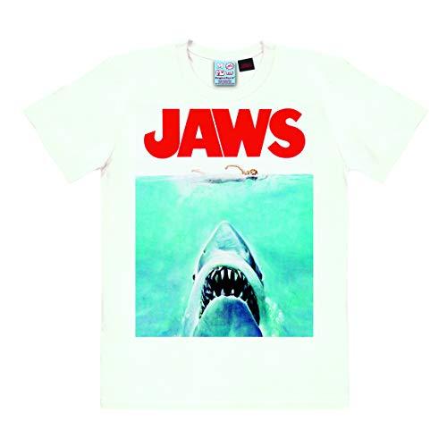 Logoshirt - Film - Der Weisse Hai - T-Shirt Herren - Weiss - Lizenziertes Originaldesign, Größe, Größe 5XL