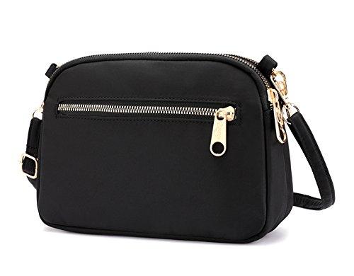 Collsants Small Crossbody Purse Mini Nylon Travel Shoulder Bag Multi Zipper Pockets (Black)