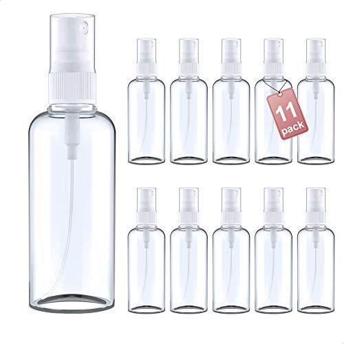 LG Luxury & Grace Pack 11 Botellas de Spray, 100 ml. Botes Pulverizadores de Polietileno Transparente. Botellas Rellenables para Viajes. Envases Atomizadores para Perfumes y Cosméticos.