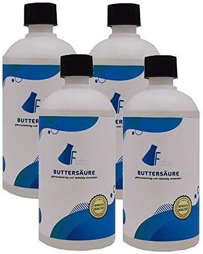 Flabzo 4x500 ml Buttersäure der Marke 4260533469835 (Buttersäure, Butyric Acid) Made by Karbid 24 (4x500 ml) (2000ml)