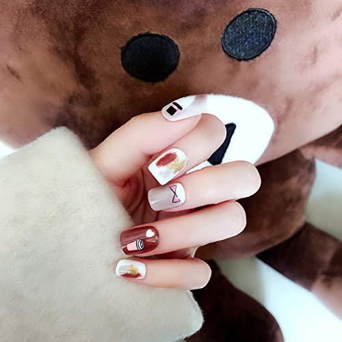 Qulin Künstliche Fingernägel für Kinder, zum Aufdrücken auf künstliche Nägel mit süßen Karton-Designs, kurz, Kawaii süße Schleife, Hut, künstliche Fingernägel