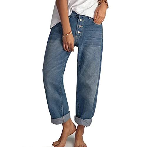 Yokbeer Damen Casual Straight-Leg Jeans Boyfriend High Waist Wide Leg Hose Hosen für Damen die Ganze Saison (Color : Blue, Size : L)