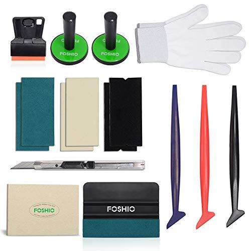 FOSHIO Wrapping kit d'outil d'applicateur de Vinyle de véhicule pour l'installation de Film de Teinte de fenêtre de Voiture incluent différentes raclettes, aimants