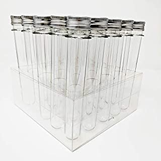 25 Ultra Long Clear PET Plastic Test Tube Tubes Beaker Set with Thin Rack Holder, Wire Brush, Caps & 32 Labels, 0.98 x 6.5 Inches(2 Oz) - Science, Shot, Beads, Candy, Bath Salt Containers & Craft Stor