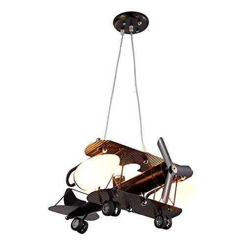 ZHUO Antiguas Araña de luces LED, dibujos animados aviones de hierro creativo en forma de iluminación de cristal lámpara decorativa lámparas de techo Nordic Nursery sala de estar colgante de luz