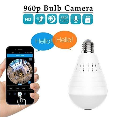 Cámara WiFi Luz LED antirrobo de 360 Grados 960P Inalámbrico Panorámico Seguridad para el hogar WiFi CCTV Lámpara de Bulbo de Ojo de pez Cámara IP