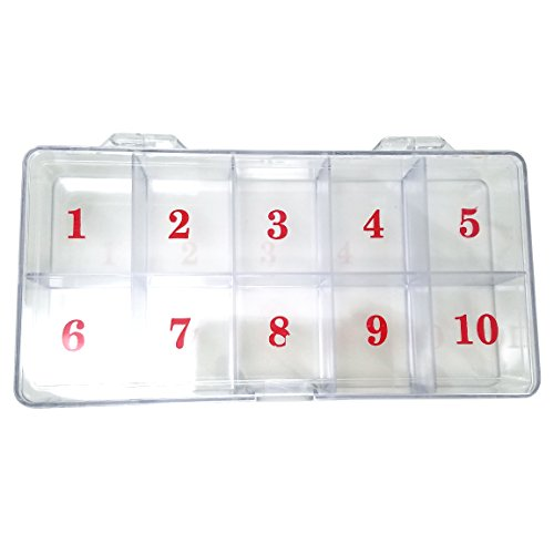 Beauticom USA Small Empty 10 Space Nail Art Tip Storage Organizer Box Case - Clear Color - For False Nail Tips, Vitamins, Accessories, 10 sections