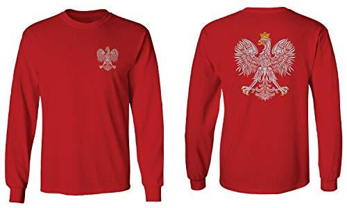 Poland Pride Vintage Style Retro Polish Eagle Flag Polska Soccer Men's Long Sleeve t Shirt (Red, Large)