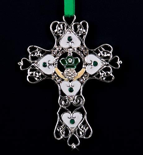 Irish Cross Ornament - Filigree Design with Crystals Irish Blessing Printed on Box St Patrick's Day Christmas