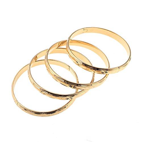 4 pulseras de oro para mujer de Dubai para novia, boda, etíope, joyería árabe africana