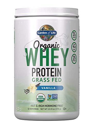 Garden of Life Organic Grass Fed Whey Powder, 21g California Protein Plus Probiotics, Non-GMO, Gluten/rBST & rBGH Free, Humane Certified, No Artificial Color, Vanilla, 13.33 Oz
