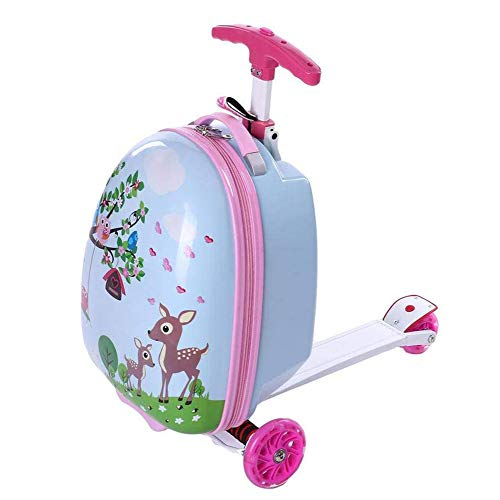 17'' Kid's Scooter Suitcase for Girls Ride-on Luggage Cartoon Mini Scootcase Children's Suitcase With Collapsible Scooter Baby Foldable Scootie Rolling Trolley Case Slide Car Toddler Stand Skateboard