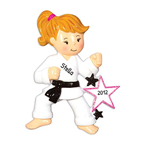 Personalized Karate Girl Christmas Ornament for Tree 2018 - Martial Art Athlete Woman Belt in Training with Star - Kick Hobby Child Blonde Brunette Grand-daughter Kid - Free Customization by Elves