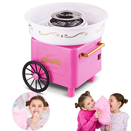 Countertop Cotton Candy Floss Maker Home Use Mini marshmallow machine Trolley Creative Gift Halloween Candy Machine Kit (pink)