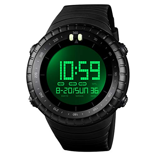 Misskt Mens Military Sport Watch Fashion Men Watch LED Display Water Resistant Black Watch (A-Black)